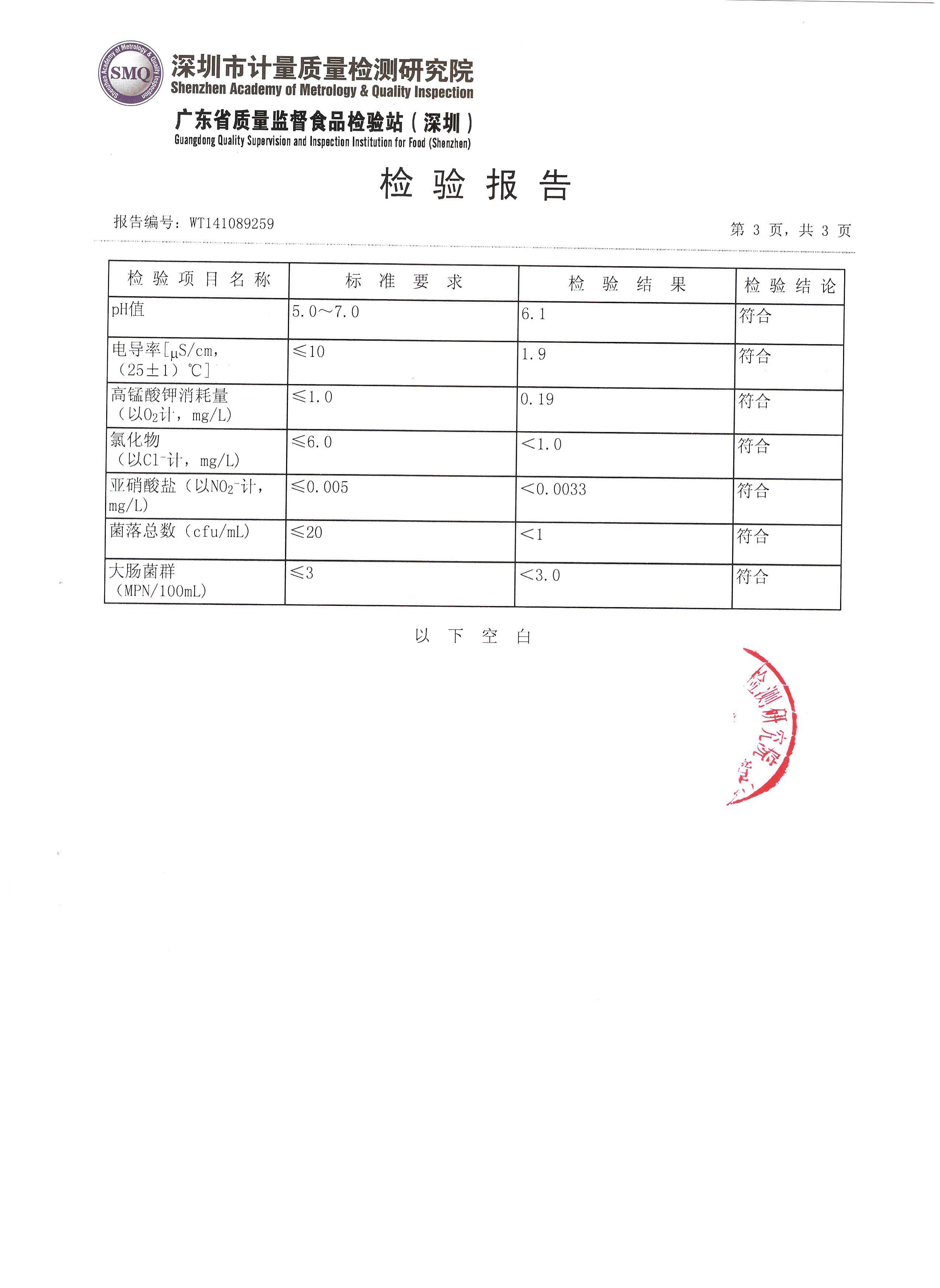 检测报告_深圳怡宝桶装水